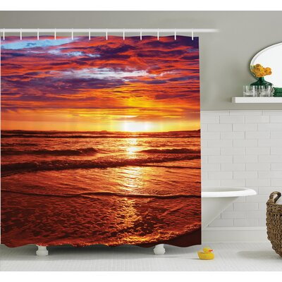 Nautical Sea Sunset Twilight Shower Curtain Set Size: 70 H x 69 W