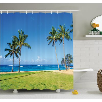 Tropical Coconut Palm Hawaii Shower Curtain Set Size: 84 H x 69 W