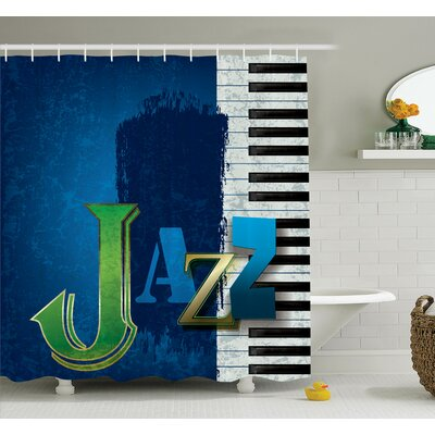 Music Jazz Piano Key Shower Curtain Set Size: 70 H x 69 W