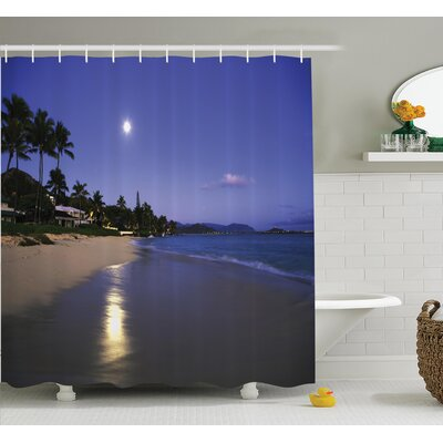 Tropical Moonlight Hawaii Sea Shower Curtain Set Size: 84 H x 69 W