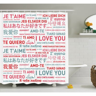 Love Emotional Messages Art Shower Curtain Set Size: 75 H x 69 W