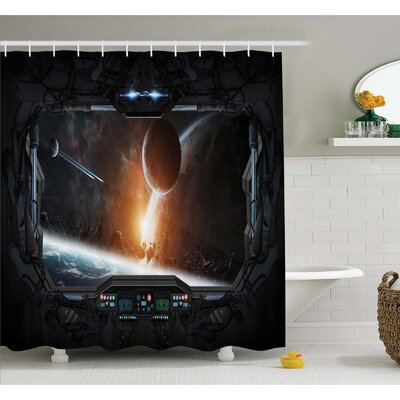 Outer Space Scenery of Planets from the Window of a Shuttle Bodies Astronaut Look Shower Curtain Set Size: 75 H x 69 W