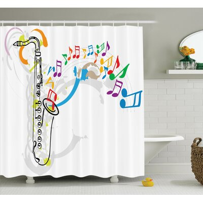 Music Festival Notes Melodies Shower Curtain Set Size: 75 H x 69 W