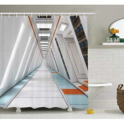 Outer Space Architecture of Spacecraft Rocket Travel Cosmos Future Mass Coordinate Shower Curtain Set Size: 70 H x 69 W