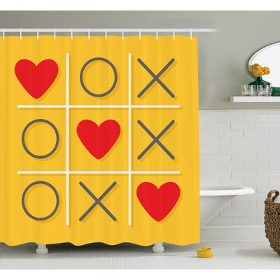 Love Romantic Tic Toc Game Shower Curtain Set Size: 75 H x 69 W