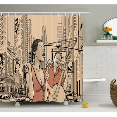 Music Jazz Singer New York Shower Curtain Set Size: 75 H x 69 W