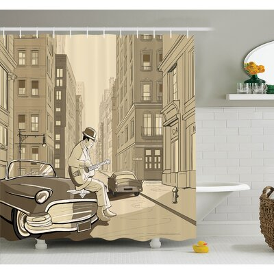 Guitarist New York Shower Curtain Set Size: 84 H x 69 W