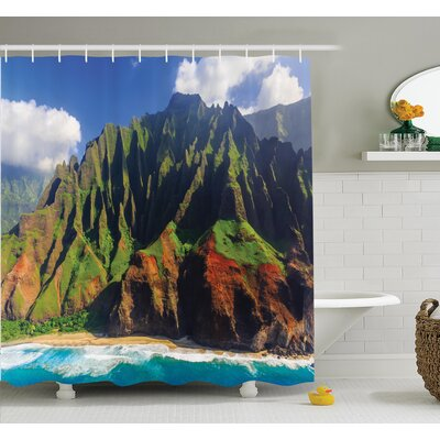 Nature Mountain Ocean Clouds Shower Curtain Set Size: 75