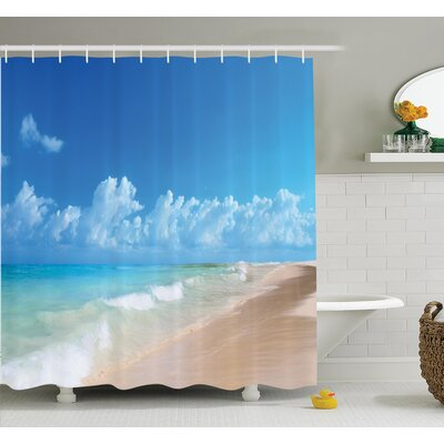 Nautical Tropical Ocean Waves Shower Curtain Set Size: 75 H x 69 W