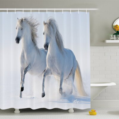 Winter Galloping Noble Horses on Snow Field Purity Symbol Animals Equestrian Theme Shower Curtain Set Size: 84