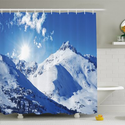Winter Mountain Peak in Sunny Winter West Northern of States Habitat Hike Image Shower Curtain Set Size: 75 H x 69 W
