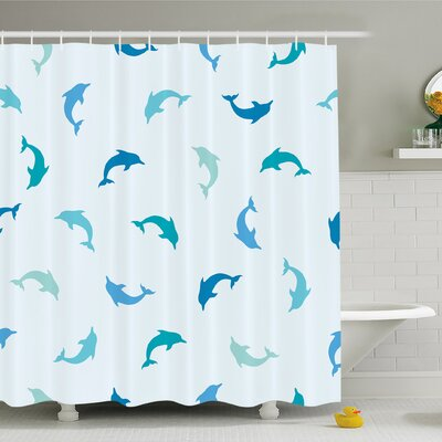 Sea Animals Leaping and Playing Dolphin Figures Aquatic Animal Marine Shower Curtain Set Size: 75 H x 69 W