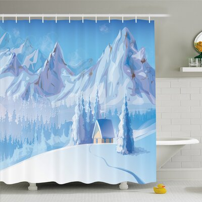 Winter Little House below Majestic Mountains in Winter Ice Blizzard Frozen Back Decor Shower Curtain Set Size: 70 H x 69 W