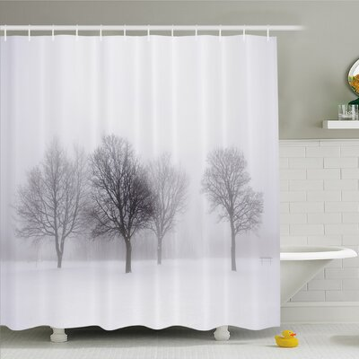 Winter Foggy Winter Scene with Leafless Tree Branch in Hazy Weather Artsy Print Shower Curtain Set Size: 70