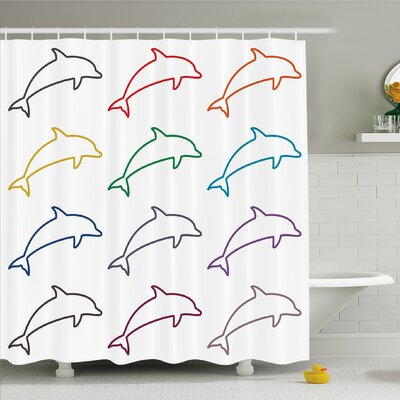 Sea Animals Dolphin Silhouettes Intelligent and Playful Fish Grace Marine Ocean Shower Curtain Set Size: 70 H x 69 W