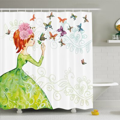 Fashion House Lady in Green Dress with Leaf Ornamentals Flower Pastel Butterfly Shower Curtain Set Size: 70 H x 69 W