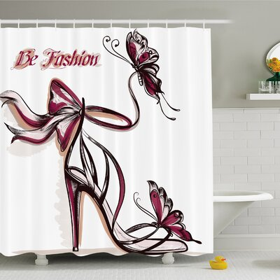Fashion House High Heels with Butterfly and Ribbon Ornamentals Be Grace Spruceness Theme Shower Curtain Set Size: 84 H x 69 W