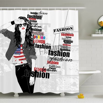 Fashion House Modern Girl with USA Flag T-shirt Colorful Beauty in Street Shower Curtain Set Size: 75 H x 69 W