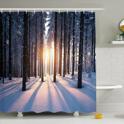 Winter Mystic Appearance of Sunset in Woodlands with Freezing Nature Artwork, Shower Curtain Set Size: 70 H x 69 W