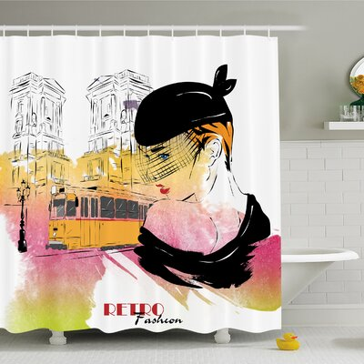 Fashion House Lady Posing in front of Tramway Sketch Retro Romance Aesthetics Shower Curtain Set Size: 84 H x 69 W