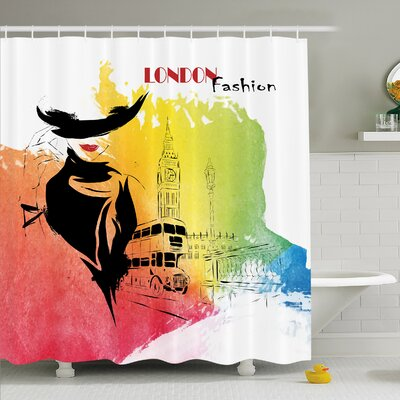 Fashion House Classy and Royal Woman with Hat Symbol of Elegance Sixties in London Streets �Shower Curtain Set Size: 84 H x 69 W
