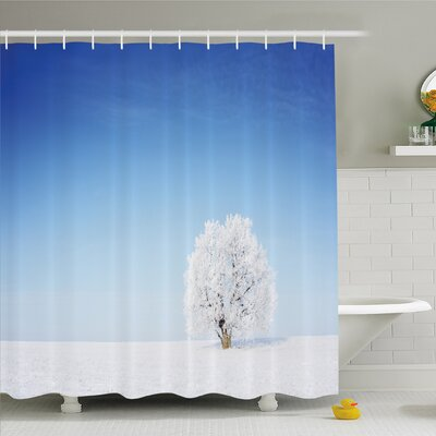 Winter Alone Winter Life of Tree in Snowy Environment Cold Lands Peace Concept Shower Curtain Set Size: 84