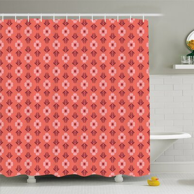 Lined Flower with Petal Leaves Spring Blooms Like Feminine Romantic Design Shower Curtain Set Size: 75 H x 69 W