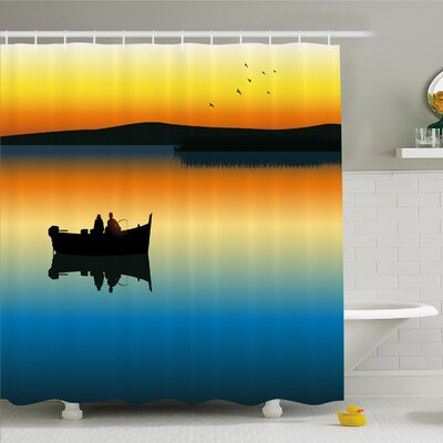 Buddies on Tranquil Still Lake at Epic Sunset Fish Male Friends Home Decor Shower Curtain Set Size: 70 H x 69 W