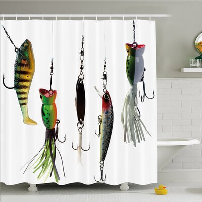 Various Type of Baits Hobby Leisure Sports Hooks Catch Elements Image Shower Curtain Set Size: 70 H x 69 W