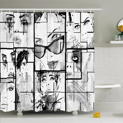 Fashion House Women Faces with Different Eye Makeup Eiffel Tower Romance Paris Image Shower Curtain Set Size: 75 H x 69 W