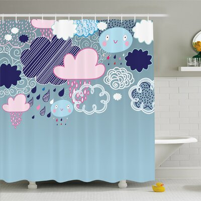 Home Clouds Made with Smiley Faces and Ornate Motifs Happy Rainy Season Graphic Image Shower Curtain Set Size: 84 H x 69 W