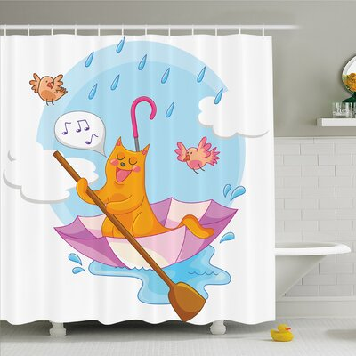 Home Cat under the Umbrella Sail in the Clouds and Humor Cartoon Kids Nursery Theme Shower Curtain Set Size: 84 H x 69 W