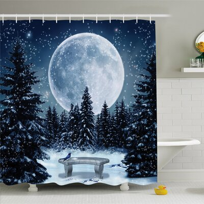 Winter Dreamy Winter Night with a Big Full Moon and Stars Lights the Darkness Shower Curtain Set Size: 75 H x 69 W