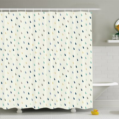 Home Saturated Spherical Teardrop Rain Water Droplets Particles Design Fusion Image Shower Curtain Set Size: 75 H x 69 W