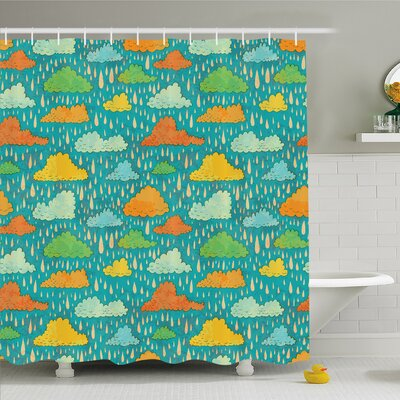 Home Funk Art Figurative Sloppy Fluffy Rain Storm Clouds on Sky Gloomy Weather Humor Print Shower Curtain Set Size: 70 H x 69 W