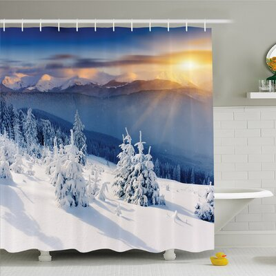 Winter Fantastic Disappearance of Sunrise in Mountain Tops Dramatic Sky Alpine Shower Curtain Set Size: 84 H x 69 W