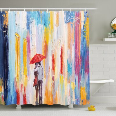 Home Silhouette of Love Couple in Street Rainy Day Romance in Urban City Life Design Shower Curtain Set Size: 70 H x 69 W