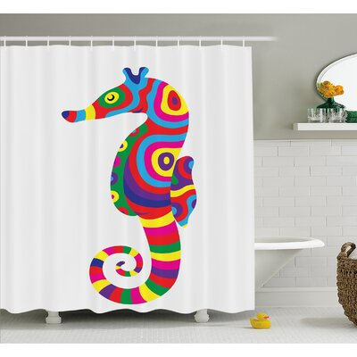 Animal Graphic of Funny Several Colored Seahorse Fauna Bony Fish Retro Maritime Object Shower Curtain Set Size: 84 H x 69 W
