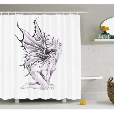 Tattoo Artistic Pencil Drawing Fairy Opening its Angel Wings Shower Curtain Set Size: 70 H x 69 W