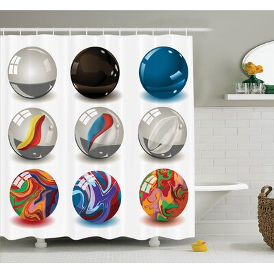 Bubbles Artwork Shower Curtain Set Size: 84 H x 69 W