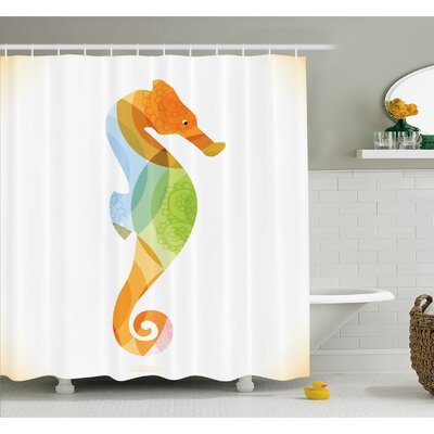 Animal Silhouette of Sea Creature with Coral Reef Patterns Inside Aquarium Icon Shower Curtain Set Size: 84 H x 69 W