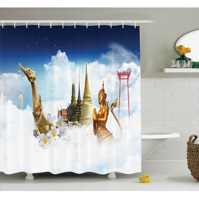 Thailand Famous Statues Shower Curtain Set Size: 70 H x 69 W