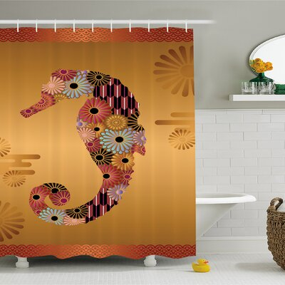 Animal Ornamental Seahorse Decor with Floral and Stripe Lines Kitsch Style Cute Image Shower Curtain Set Size: 84 H x 69 W