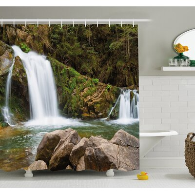 Waterfall Mother and Baby by the Mountain Side with Moss on Rocks Shower Curtain Set Size: 70 H x 69 W