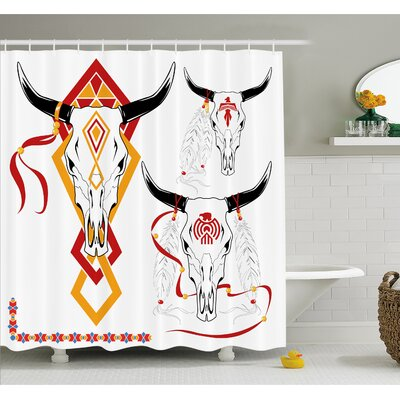 Tattoo Bulls Head with Feather of Bird with Tribal Design Shower Curtain Set Size: 75 H x 69 W