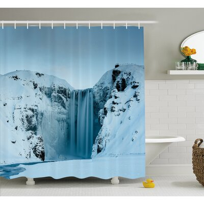 Waterfall Frozen Heavenly Landscape View with Mountains Covered with Snow Photo Shower Curtain Set Size: 70 H x 69 W