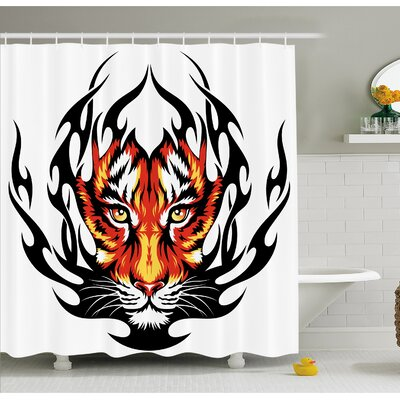 Tattoo Jungles Prince Tigers Head in Flames Frame looking with Cat Eyes Shower Curtain Set Size: 84 H x 69 W