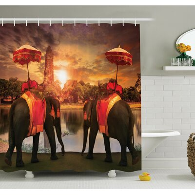 Sunset Animals Lake Shower Curtain Set Size: 70 H x 69 W