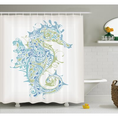 Animal Greek Art Textured Ancient Seahorse Idol of Spiritual Life Cycle Artwork Shower Curtain Set Size: 75 H x 69 W