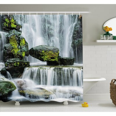 Waterfall Majestic Blocked with Massive Rocks with Moss on Them Shower Curtain Set Size: 75 H x 69 W